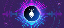 Musical Banner With Glowing Equalizer On Dark Background. Voice Recognition, Icon Microphone In Center Of The Circle. Vector Illustration.