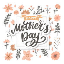 Happy Mothers Day Lettering. H...