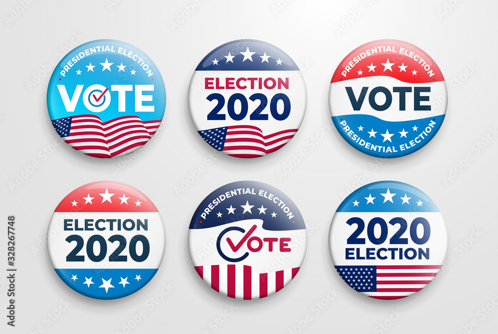 Fototapeta Set of 2020 United States of America presidential election button design. Voting 2020 Icon. Government, and patriotic symbolism and colors. Label vector illustration. Isolated on white background.