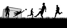 Soccer Football Players In Silhouette Playing A Match Game Scene