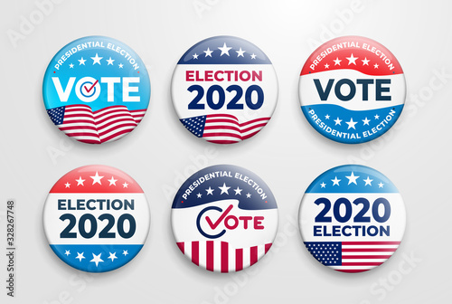 Vászonkép Set of 2020 United States of America presidential election button design