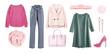 Leinwanddruck Bild - Women's clothes collage isolated on white.Outfit.Female clothing set.