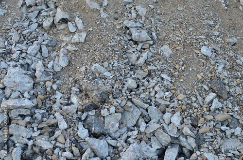 Photo Recycled concrete aggregate (RCA) which is produced by crushing concrete reclaimed from concrete buildings, slabs, bridge decks, demolished highways