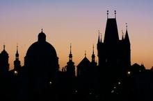 Prague's Skyline At Sunrise, From Charles Bridge