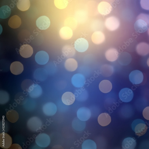 Fototapety, obrazy: Bokeh magical blur background. Deep blue violet gradient. Shimmer confetti pattern. Abstract holiday illustration.