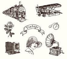 Vintage Gravure Style, Train, ...