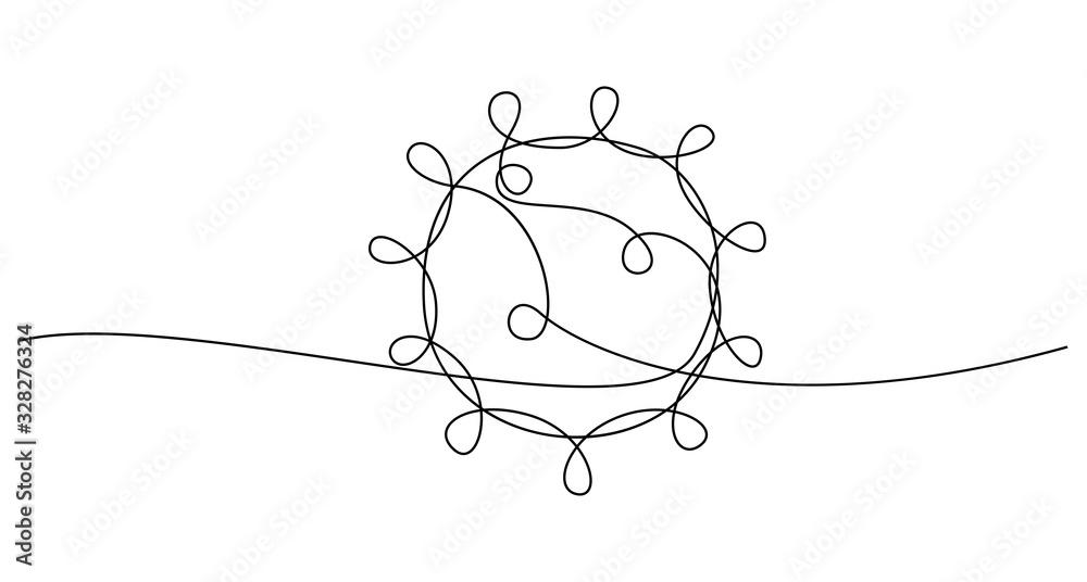 Fototapeta COVID-19 continuous line symbol. Concept Coronavirus, virus silhouette, corona virus inscription one single line on a white background, line drawing, vector illustration.