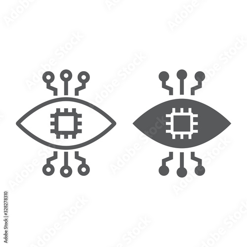 Bionic contact lens line and glyph icon, technology and eye, bionic eye sign, vector graphics, a linear pattern on a white background, eps 10 Canvas Print