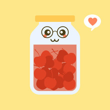Kawaii And Cute Cherry In Jar. Canned Fruits. Tinned Goods Product Stuff, Preserved Food, Supplied In A Sealed Can. Isolated. Vector Flat Illustration.  Flat Design Style For Your Mascot Branding.