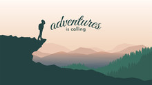 Traveler Standing Looking On Forest. The Guy Watches Nature With Binoculars And Backpack. Vector Travel Concept Banner. Concept Of Discovery, Exploration, Hiking, Adventure Tourism And Travel.