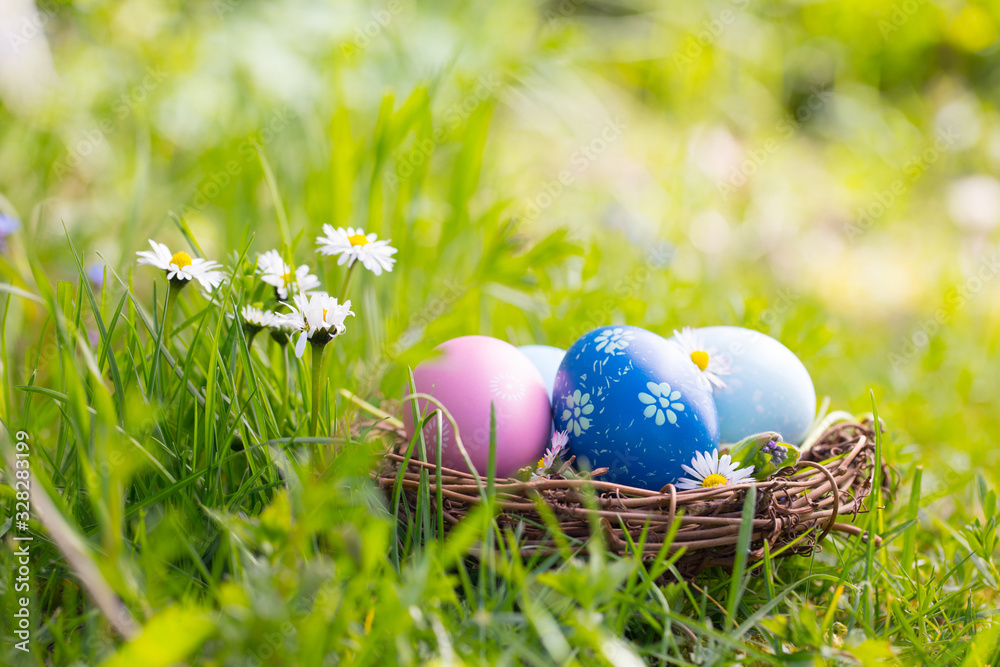 Fototapeta Happy Easter  -  Nest with easter eggs in grass on a sunny spring day - Easter decoration background