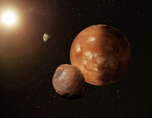 Planet Mars with its moons Phobos and Deimos