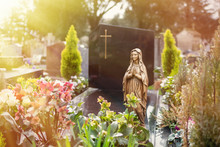 Virgin Mary At Cemetery, Grave...