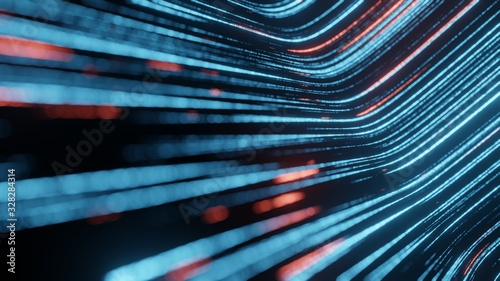 Fotografía 3D Rendering of abstract fast moving stripe lines with glowing light flare