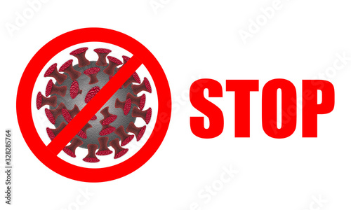 Obraz Coronavirus. Stop Coronavirus, stop sign and text on white background. Coronaviruses influenza background as dangerous flu strain cases as a pandemic medical health risk concept with disease cells as - fototapety do salonu