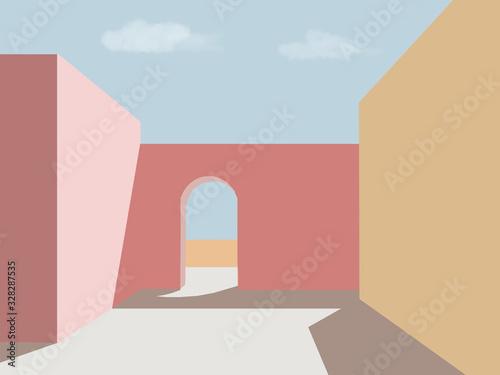 Photo sfondo arco sole cielo illustrazione architettura mura