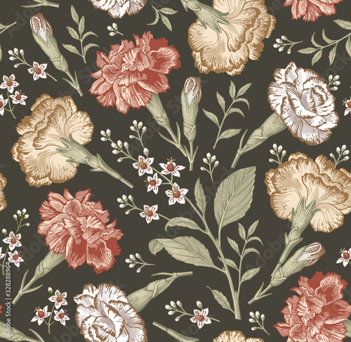 Seamless pattern. Beautiful fabric blooming realistic isolated flowers. Vinta...