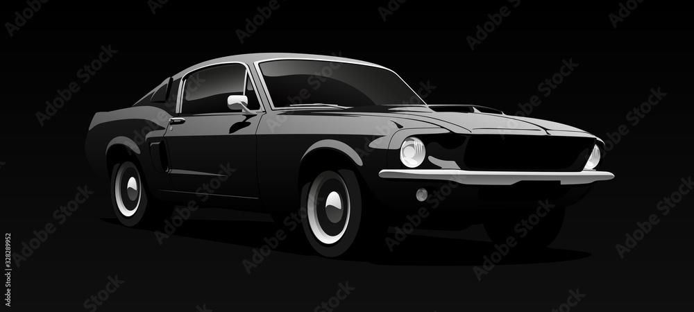 Fototapeta Muscle car in black. Vector illustration.