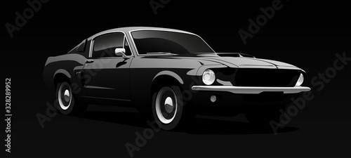 Obraz Muscle car in black. Vector illustration. - fototapety do salonu