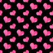 Romantic pattern with pink watercolor hearts on the black background. Seamless ornament for packaging, wrapping paper, scrapbook, textile