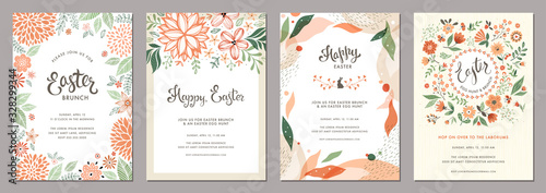 Trendy floral Easter templates. Good for poster, card, invitation, flyer, cover, banner, placard, brochure and other graphic design.