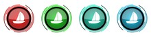 Yacht Round Glossy Vector Icons, Set Of Buttons For Webdesign, Internet And Mobile Phone Applications In Four Colors Options Isolated On White Background