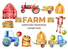 Watercolor Farm Vehicles And Buildings Set. Cow, Tractor With Tow, Apples In Wooden Box, Red Farm And Haystack