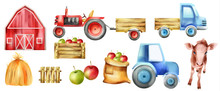 Watercolor Farm Vehicles And B...