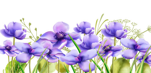 Fototapeta Na szklane drzwi i okna Purple watercolor orchid flowers with green leaves. Wide banner