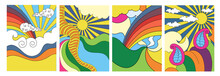 Set Of Four Brightly Colored Stylised Abstract Psychedelic Landscapes With The Sun, Clouds And Rainbow For Posters, Cards Or Covers, Colored Vector Illustration