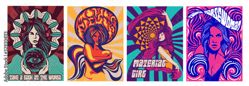 Fototapeta Set of four different covers or poster designs of psychedelic girls in modern stylised style, colored vector illustration obraz