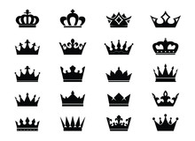 Set Black Vector King Crowns A...