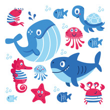 Set Of Sea Animals Fish Shark ...