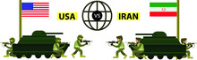 Iran Versus USA War Vector Concept With Soldiers Utilized By Choppers And Tanks Shooting Each Other