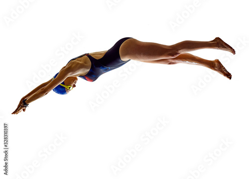 Photo woman sport swimmer swimming isolated white background