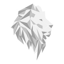 Picture Of Lion Head On A White Background