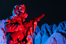 Man In Chemical Warfare Suit W...