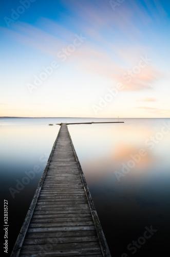 Fototapety, obrazy: Wooden jetty in water, Nordkroken, Vargön, Sweden, Europe