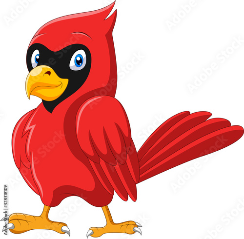 Tableau sur Toile Cute cartoon beautiful cardinal bird