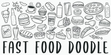 Fast Food Doodle Line Art Illustration. Hand Drawn Vector Clip Art. Banner Set Logos.