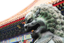 Chinese Lion In Front Of Temple