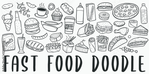 Fototapeta Fast Food Doodle Line Art Illustration
