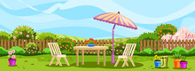 Horizontal Spring Banner With Backyard, Blooming Bushes, Flowers And Fence. Elegant White Outdoor Furniture With Large Umbrella. Relax Zone With Chairs And Table In The Garden.
