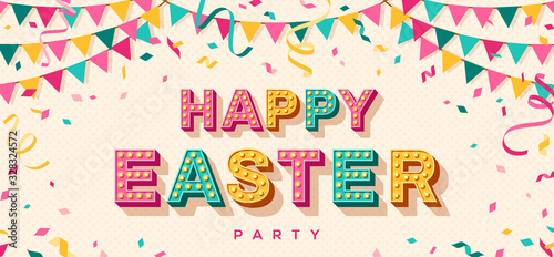 Happy Easter card or banner with 3d typography design. Vector illustration with retro light bulbs font, streamers, confetti and hanging flag garlands.