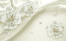 3d Flowers, Flower, White, Sil...