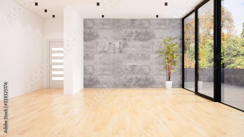 Foto Large luxury modern minimal bright interiors room mockup illustration 3D renderi