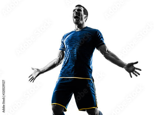 Fotomural soccer player man happy celebration silhouette isolated