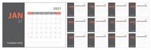 2021 Calendar Planning. English Planner. Сolor Vector Template. Week Starts On Sunday