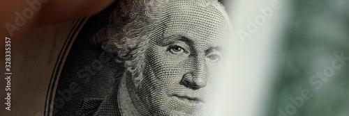 Fototapeta Close up element banknote with george washington