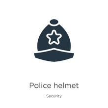 Police Helmet Icon Vector. Tre...